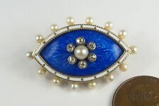 Enamel Diamond Pearl Navette Brooch c1900 Antique Late Victorian 15K Gold Blue