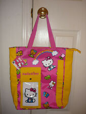 Sanrio Hello Kitty Tote Bag, Pocket Yellow Pink Bunny Bears Butterfly Flowers