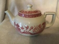RED not blue willow pattern restaurant teapot Bailey-Walker