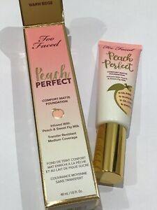 Too Faced 'Peach Perfect' comfort matte liquid foundation 48ml #Warm Beige BNWB