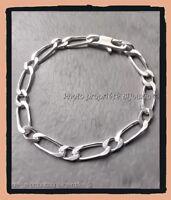 Bracelet Maille Figaro Alternée 21CM x 6MM En Argent Massif 925/1000 Rhodium