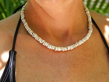 "18"" Tiger Puka Shell Chip Surfer Choker Necklace Real Seashells Genuine Puka"