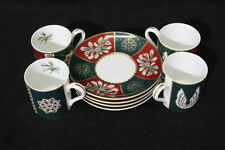 Mint Set of 4 Neiman Marcus Demitasse Cups and Saucers Christmas Motiff