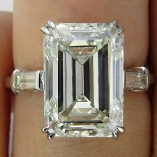 4 Ct Near White Emerald Cut Moissanite Engagement Ring 10K White Gold All Size