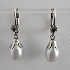 Aquamarin Perle grau Ohrhänger Vintage Trachten Retro antik Sterling Silber 925