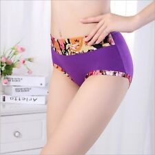 6 piece Bamboo fiber Seamless Underwear Size Flower Embellish panties  #786