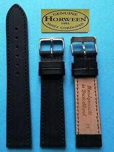Horween Essex Uhrenarmband 18,20, 22mm schwarz  sehr weich made in Germany  / 44