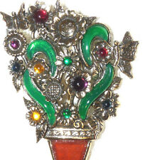 Vintage MIRACLE Glass & Enamel Flower in a Pot Brooch/Pin  M08*