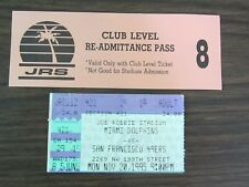 Miami Dolphins Ticket Stub From Nov 20, 1995 vs San Francisco 49ers 11/20/95