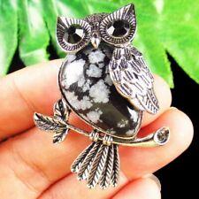 SH2295 Wrapped Tibetan Silver Natural Snowflake Obsidian Owl Pendant Bead