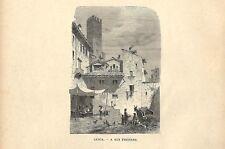 Stampa antica LUCCA Osteria presso la Chiesa di San Frediano 1885 Antique print