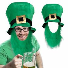 "Saint Patrick's Day Green Top Hat w/Beard. 9"" tall. Adult Size Fits Most."