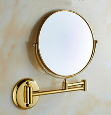 Polished Gold Double Side Makeup Mirror Folding Wall Mounted 3x Magnifying