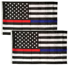 2 PACK 3x5 Ft Law Enforcement Police Fire EMS Flag - USA Thin RED & BLUE Line