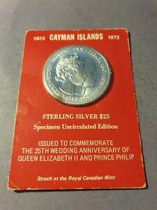 2oz 1972 Specimen Silver Cayman Islands 25 Dollar Coin Unopened