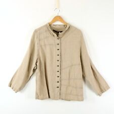 NWT Cynthia Ashby Smock Beige Linen Compose Jacket Top 1 S