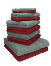 """Lot de 10 serviettes """"Premium"""" rouge foncé et gris anthracite, 2 serviettes de b"""