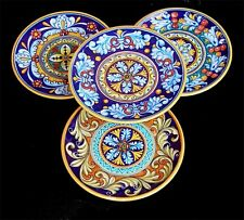 DERUTA POTTERY, FINE SET OF 4 GEOMETRICO BIG PLATES NEW