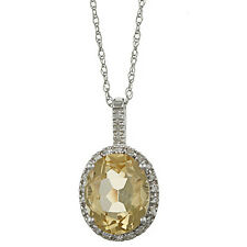 10k White Gold 3.6ct Oval Citrine and Diamond Pendant Necklace