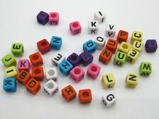 250 Assorted Colorful Alphabet Letter Acrylic Cube Pony Beads 6X6mm