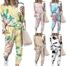 Womens Tie Dye Tracksuit Set Sweatshirt Pullover Tops Jogger Pants Sweat Suits