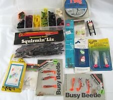 Vtg Tackle Box Lot Rubber Fishing Lures Bass Pro Squirming Grub Tip Up Line Hook