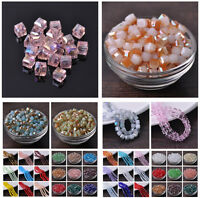 New 6/8/10mm Glass Czech Cube Square Crystal Faceted Loose Spacer Beads Findings