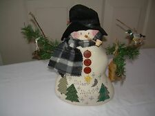 STUFFED PRIMITIVE SNOWMAN Handmade Signed 1997  12 inches tall