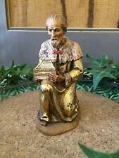 "Anri Kuolt Vintage KING MELCHOIR Gold Wood Carved 6""  Nativity Woodcarving"