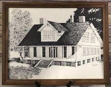 """VTG Original Etching Colonial Home Veranda Porch Framed Signed Dated 16"""" x 20"""""""