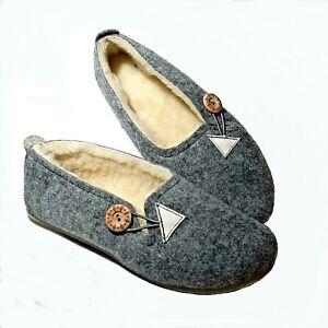 🌷 Ladies Women Felt Real Wool Slippers E Wide Fit Grey Warm Handmade Ballerina