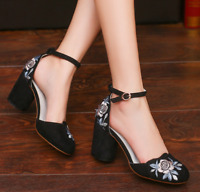 Women Ankle Strap Embroidered  Floral Pumps Casual Chunky Block Mid Heels Shoes