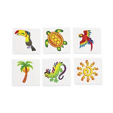 36 Tattoos Tropical Beach Luau Party Favor TOUCAN PARROT PALM TREE TURTLE SUN