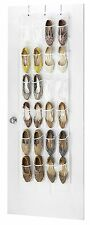 """Clear Over The Door Hanging Shoe Organizer 24 Pocket White 64"""" L x 18"""" W"""