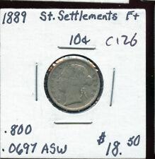 1889 Straits Settlements 10 Cents F+ AB796