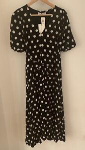 Faithfull The Brand La Torre Midi Dress Emelda Dot Black Size XS NEW RRP £189
