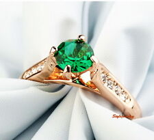 Emerald Green Stone Rose Gold Plated Wedding Bridal Anniversary Ring Size 9 R1
