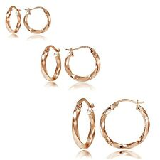 Set of 3 Rose Gold Tone on 925 Silver 2mm Twist Hoop Earrings, 20mm, 25mm, 35mm