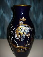 JAEGER ECHT COBALT BLUE PORCELAIN VASE FLORAL WITH GILDED TRIM TOP & BOTTOM