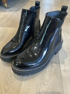 Brand New River Island Black Patent Zip Chelsea Boots Size 6 / 39 Chunky Heel