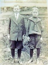 EARLY RPPC TWO BOYS WEARING KNICKERS TIES CUTE c. 1910's REAL AZO PHOTO POSTCARD