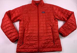 PATOGONIA Men Red Size Medium Primaloft Quilted Nano Puff Zip Jacket Puffer Coat