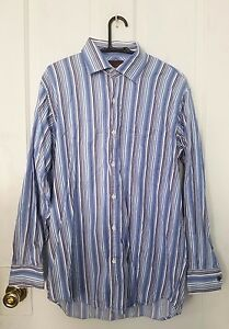 Born Handcrafted Clothing blue, purple, white striped, button down shirt, Medium