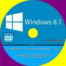 WINDOWS 8.1 INSTALL RECOVER REPAIR DVD HOME BASIC & PROFESSIONAL 64 Bit VERSION