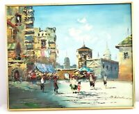 """Vintage Oil Painting Signed R Birchard 20""""x24"""" Cityscape Colorful Market Square"""