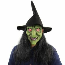 HALLOWEEN FULL FACE WITCHES MASK Long Black Hair Red Eyes Party Fancy Dress👻