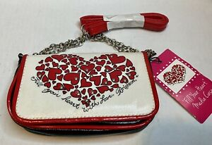Brighton Fill Your Heart Love Stud Flap Red White Black Small Crossbody Bag NWT