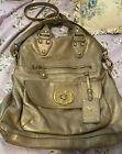EMMA FOX  fold over LG. Organizer Gold Satchel Handbag, Convertible Shoulder Bag