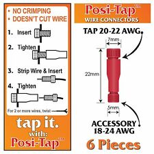 POSI-TAP 20-22 AWG WIRE CONNECTORS, REUSABLE, NO CRIMPING - 6 PK #604