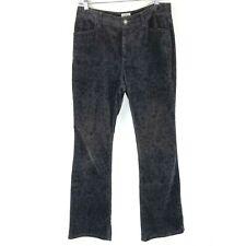 Chicos Womens Size 0.5 Size 6 Black Corduroy Bootcut Pants Floral Scroll Imprint